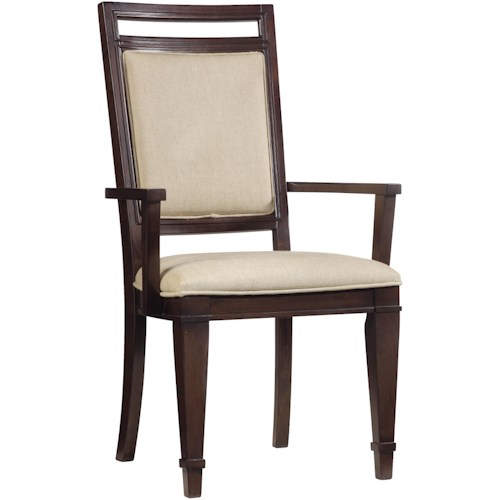 Hooker Furniture Ludlow Dining Arm Chair with Comfortably Upholstered Back and Seat Plus Stylish Tapered Legs