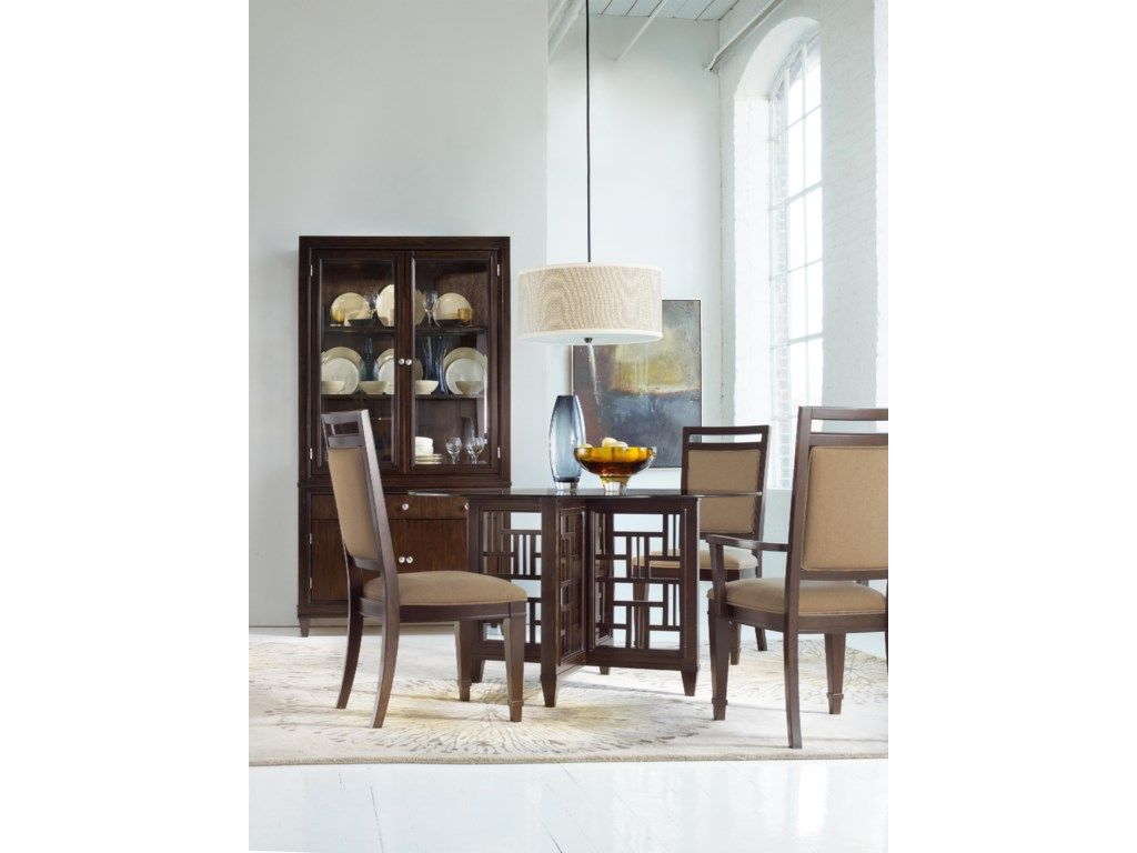 Shown with Upholstered Back Side Chairs, Round Dining Table, and Bunching China Cabinet