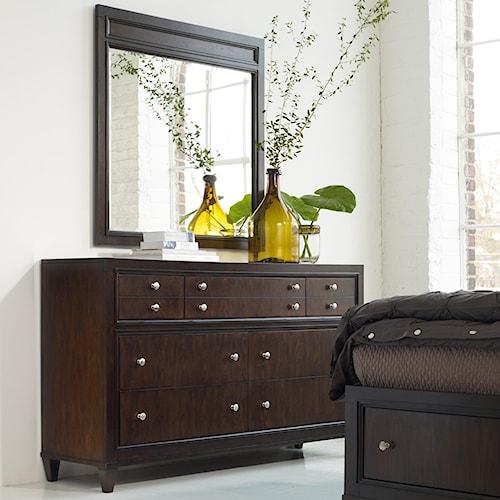 Hooker Furniture Ludlow Modern Seven-Drawer Dresser & Framed Mirror Combination