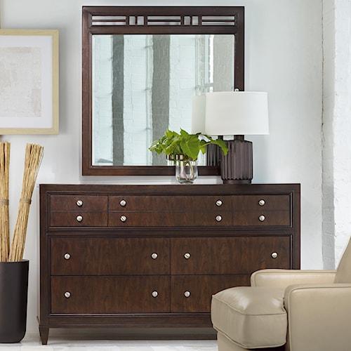 Hooker Furniture Ludlow Seven-Drawer Modern Breakfront Dresser & Mirror with Fretwork Patterned Frame Combination