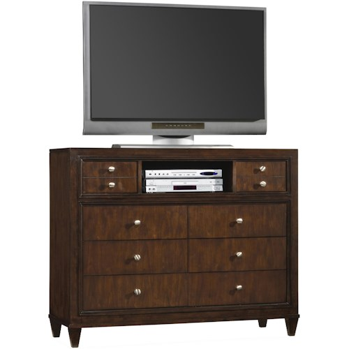 Hooker Furniture Ludlow Eight-Drawer Media Chest with Open Component Compartment & Modern Detailing