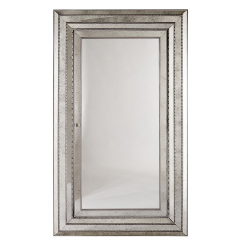 Hooker Furniture Mélange Glamour Wall Mounting, Full-Length Mirror with Felt-Lined Storage