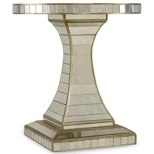 Hooker Furniture Mélange Looking Glass Accent Table with Pedestal Base
