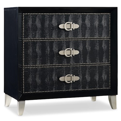 Hooker Furniture Mélange Ebony Croc Chest with 3 Drawers