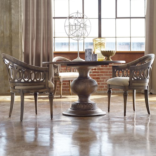 Hooker Furniture Mélange 3 Piece Cambria Dining Set with Round Pedestal Table