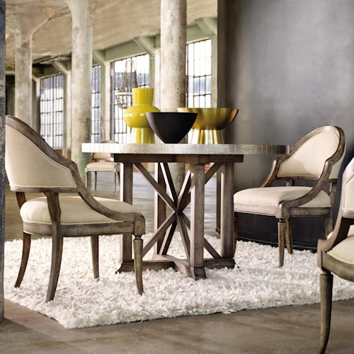 Hooker Furniture Mélange Bentley Dining Set with Aluminum Wrapped Table