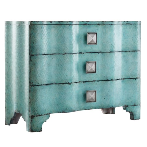 Hooker Furniture Mélange Turquoise Crackle Chest with Rippled Front