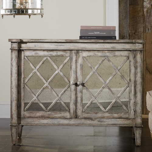 Hooker Furniture Mélange Villa Blanca Chest with Latticed Antiqued Mirror Front