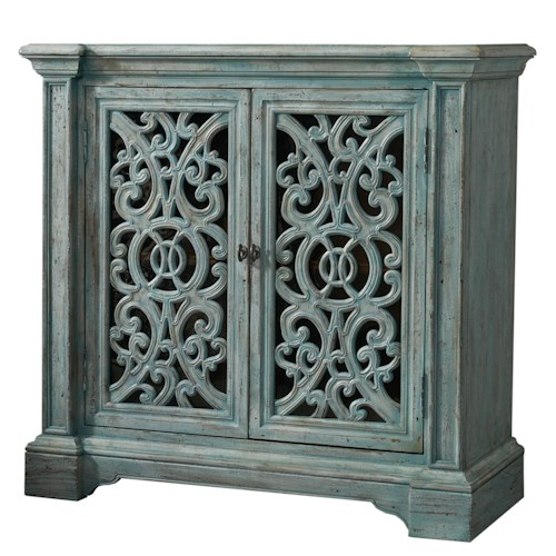Hooker Furniture Mélange Light Blue Artesia Accent Chest with Decorative Fretwork