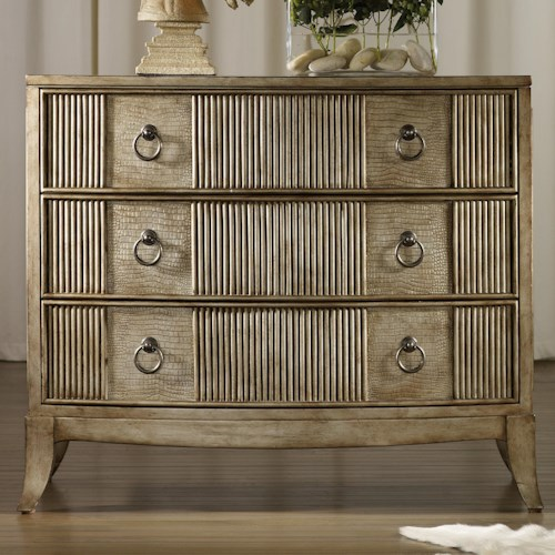 Hooker Furniture Mélange 3 Drawer Latico Chest with Reeding