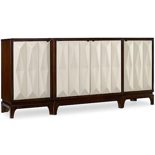 Hooker Furniture Mélange 4 Door Traviata Credenza with Ripple Motif