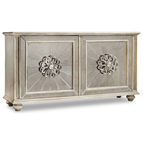Hooker Furniture Mélange Mesmerize Credenza with Antique Mirror Door Fronts