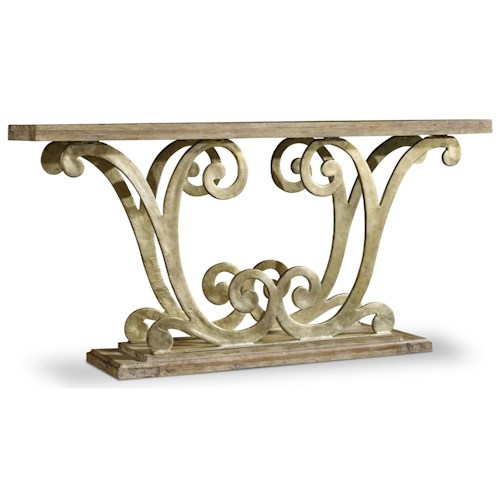 Hooker Furniture Mélange Remi Console with Scrolled Metal Pedestal