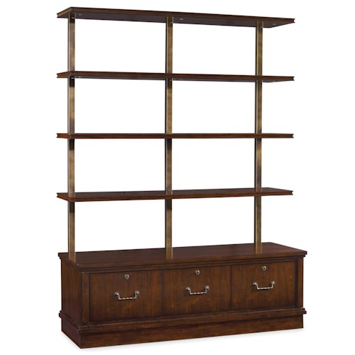 Hooker Furniture Palisade Bookcase with 4 Shelves and Pendaflex Filing System