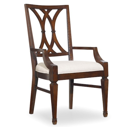 Hooker Furniture Palisade Splat Back Dining Arm Chair with Tapered Legs