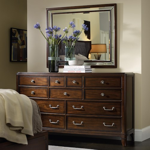 Hooker Furniture Palisade 11 Drawer Dresser with Wall Mirror Set