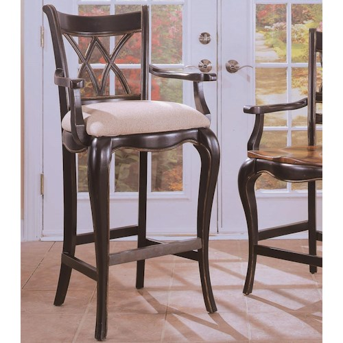 Hooker Furniture Preston Ridge Double X Back Counter Stool with Cushion