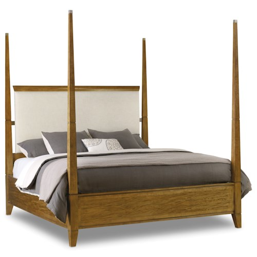 Hooker Furniture Retropolitan Queen Poster Bed with Upholstered Headboard