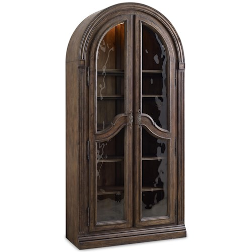 Hooker Furniture Rhapsody Bunching Curio Cabinet with Seeded Glass Doors and Touch Lighting