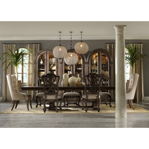 Hooker Furniture Rhapsody Rectangular Dining Table with Wood Back Side Chairs and 2 Tufted Chairs
