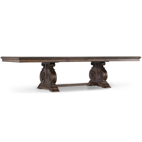 Hooker Furniture Rhapsody Traditional Rectangle Dining Table with Grand Scale Scroll Base and Two 20-Inch Extension Leaves