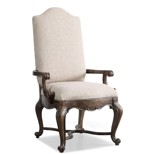 Hooker Furniture Rhapsody Upholstered Dining Arm Chair with Scrolled Arms and Nailhead Trim