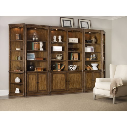 Hooker Furniture Saint Armand Bookcase Wall Unit with Adjustable Shelves