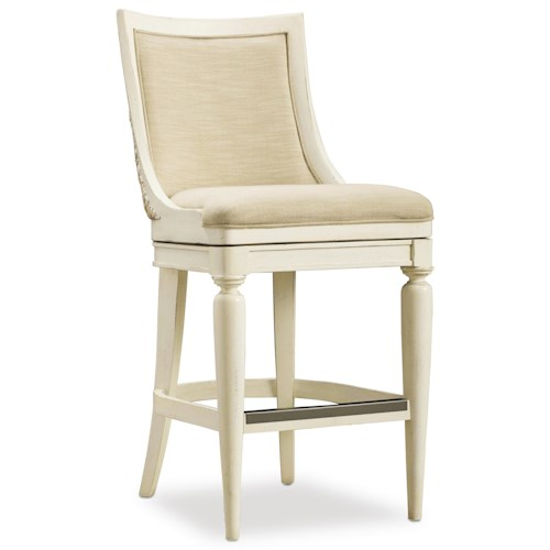 Hooker Furniture Sandcastle Upholstered Barstool with Swivel Seat