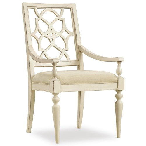 Hooker Furniture Sandcastle Fretback Arm Chair - Upholstered Seat