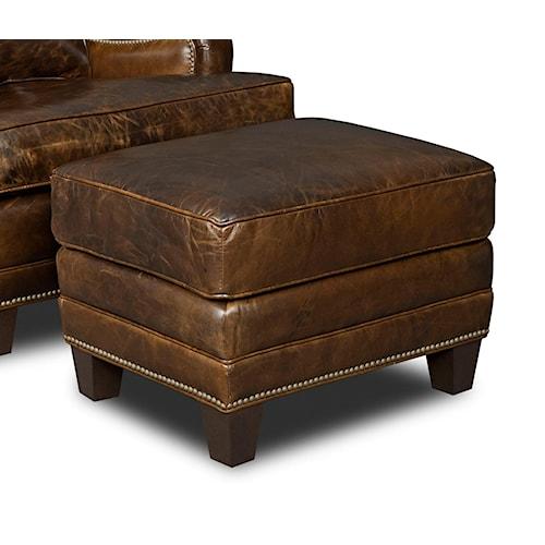 Hooker Furniture Club Chairs Ottoman with Nailhead Trim