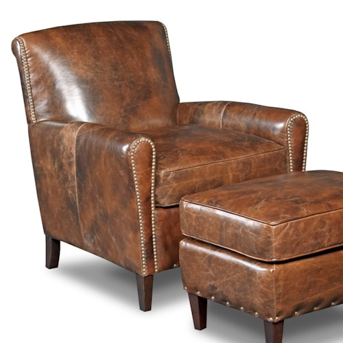 Hooker Furniture Club Chairs Transitional Club Chair with Rolled Back and Nailheads