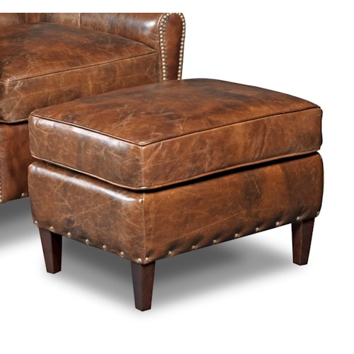 Hooker Furniture Club Chairs Transitional Ottoman with Nailhead Studs