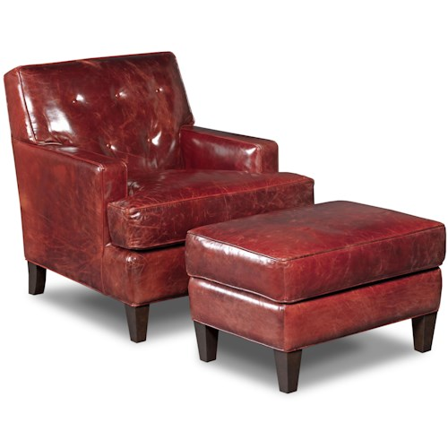 Hooker Furniture Club Chairs Covington Bogue Leather Chair and Ottoman