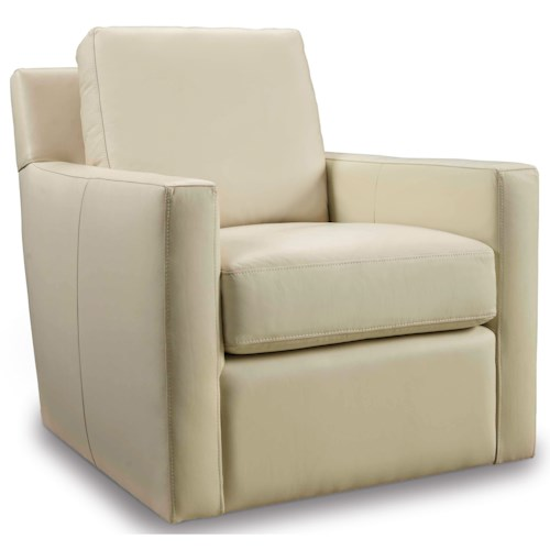 Hooker Furniture Club Chairs Contemporary Cream Swivel Club Chair with Track Arms