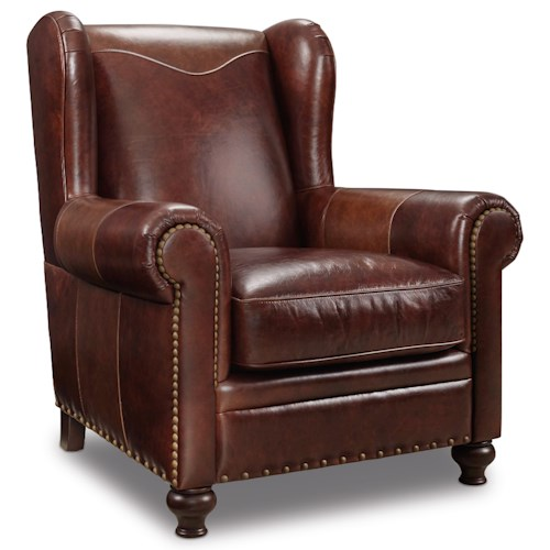 Hooker Furniture Club Chairs Traditional Wing Back Club Chair with Rolled Arms