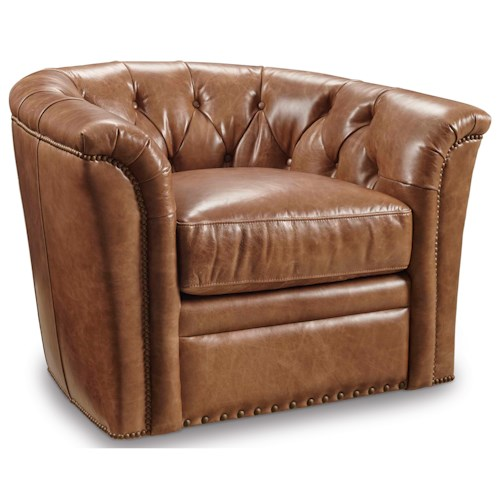 Hooker Furniture Club Chairs Traditional Swivel Club Chair with Tufted Back