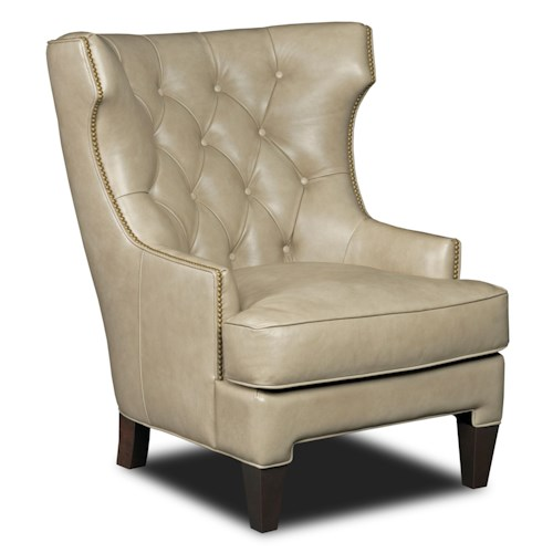 Hooker Furniture Club Chairs Traditional Wing Back Club Chair with Diamond Tufting