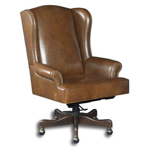 Hooker Furniture Executive Seating Traditional Wing Back Home Office Chair with Swivel