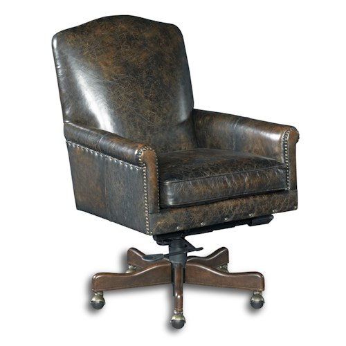Hooker Furniture Executive Seating Transitional Swivel Home Office Chair with Nailheads