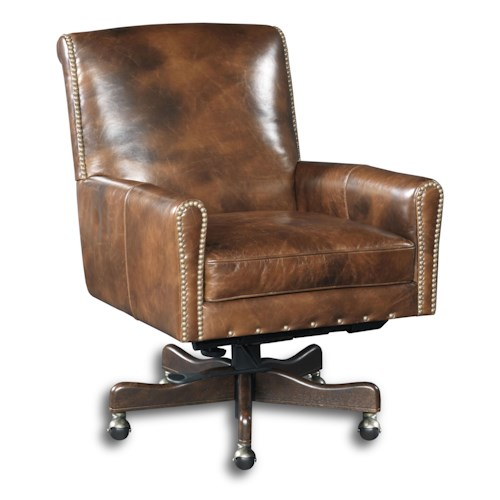 Hooker Furniture Executive Seating Swivel Office Chair with Nailhead Border