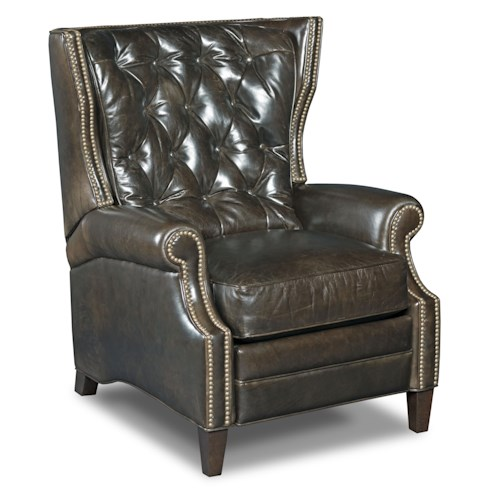 Hooker Furniture Reclining Chairs Reclining Wing Chair with Button Tufting and Nailheads