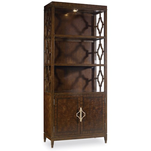 Hooker Furniture Skyline Bunching Bookcase with Touch Lighting