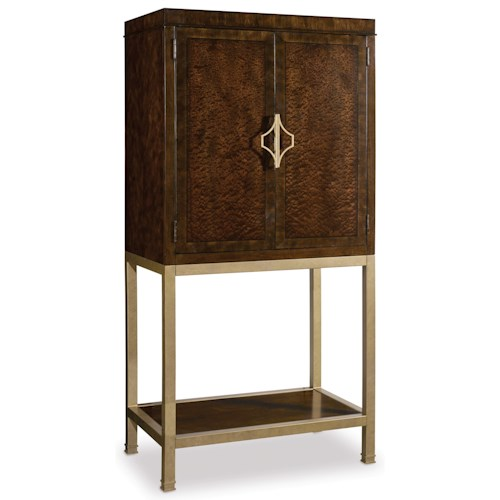 Hooker Furniture Skyline Bar Cabinet with 4 Wine Glass Racks