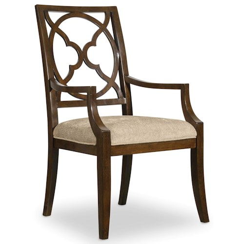 Hooker Furniture Skyline Fretback Arm Chair with Upholstered Seat