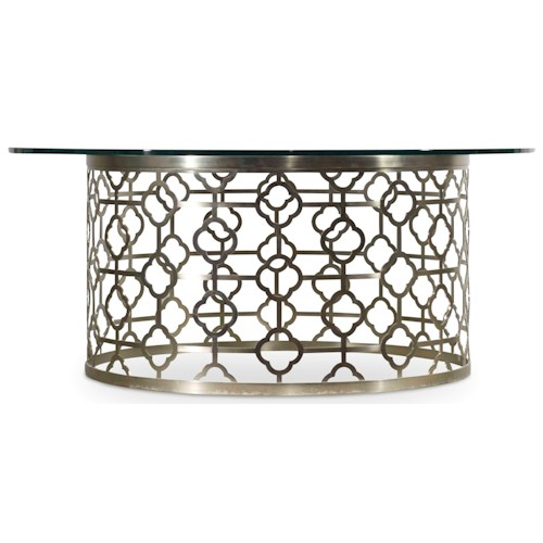 Hooker Furniture Skyline Round Cocktail Table Plated Metal Base