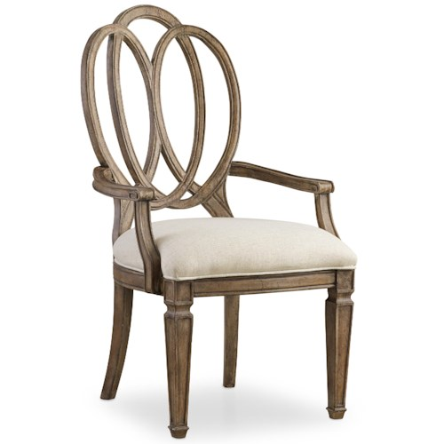 Hooker Furniture Solana Arm Chair with Intersecting Open Oval Wood Back Design