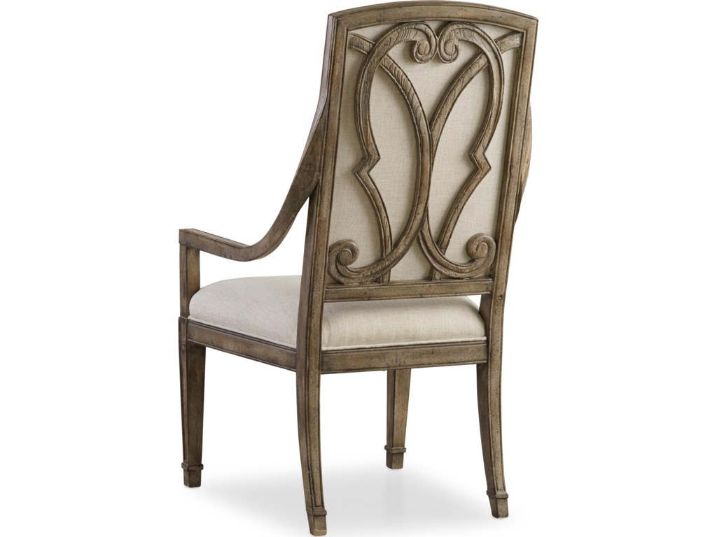 Back View of Chair Highlights Serpentine Wood Overlay Design