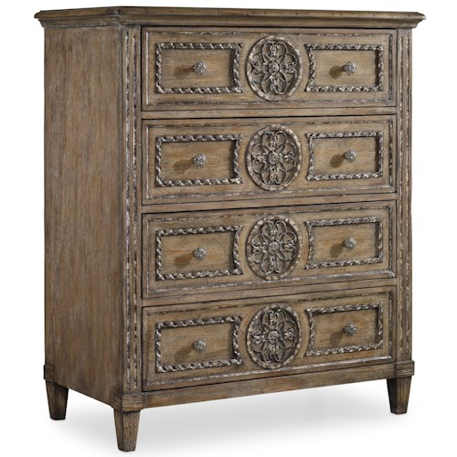 Hooker Furniture Solana Tall Chest with 4 Drawers and Rosette Detail