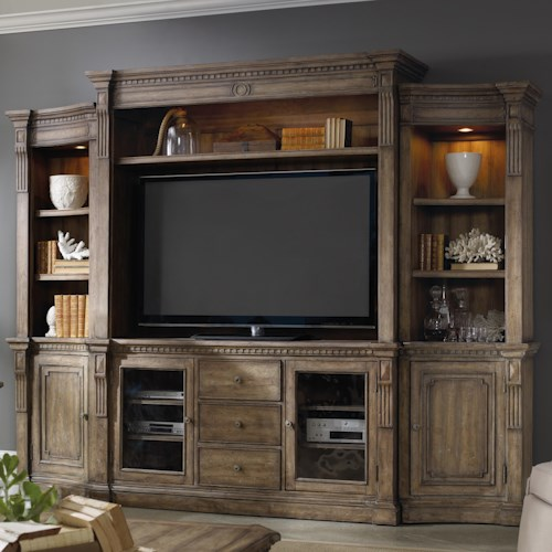 Hooker Furniture Sorella 4 Piece Wall Unit with Touch Lighting and Interchangeable Wood and Seeded Glass Panel Inserts