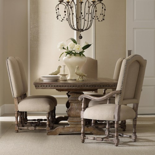 Hooker Furniture Sorella Formal Dining Set with Rectangular Table, Upholstered Arm Chairs and Upholstered Side Chairs